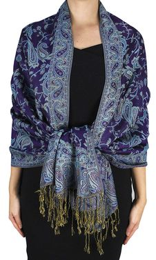 Eggplant Reversible Paisley Floral Shawl