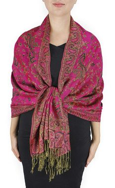Fuchsia Reversible Paisley Floral Shawl