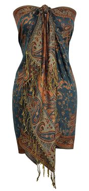 Sophisticated Reversible Paisley Floral Shawl (Green & Gold)