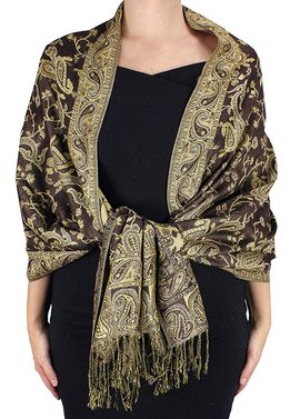 Sophisticated Reversible Paisley Floral Shawl (Mocha)