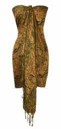 Sophisticated Reversible Paisley Floral Shawl (Orange/Forest Green)- LIMITED TIME OFFER. LIMIT ONE PER HOUSEHOLD.