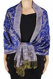 Royal Blue Reversible Paisley Floral Shawl