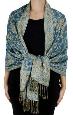 Turquoise Paisley Floral Shawl