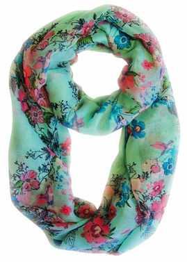Spring Fashion Cherry Blossom Floral Print & Hummingbirds Infinity Loop Scarf (Sea Green)