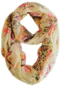 Cheery Blossom Floral Scarf Flower Print Infinity Scarf