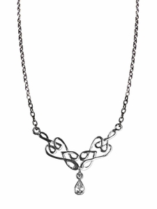 Sterling Silver CZ Celtic Necklace