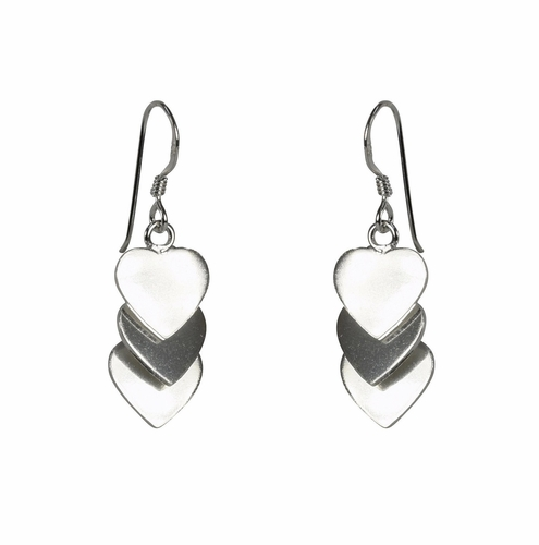 Sterling Silver Dangly Triple Heart Earrings