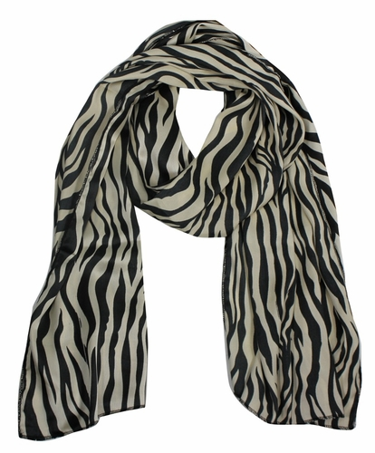Beige-Black Striped Zebra Print Scarf