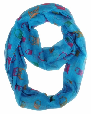 Stunning Colorful Lightweight Vintage Owl Print Infinity Loop Scarf (Blue)