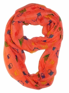 Stunning Colorful Lightweight Vintage Owl Print Infinity Loop Scarf (Coral)