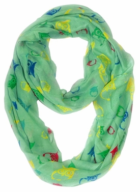 Stunning Colorful Lightweight Vintage Owl Print Infinity Loop Scarf (Mint)