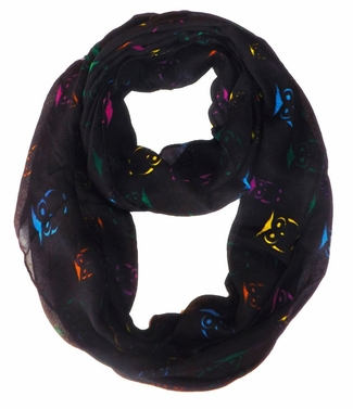 Stunning Colorful Lightweight Vintage Owl Print Infinity Loop Scarf (Multicolor)