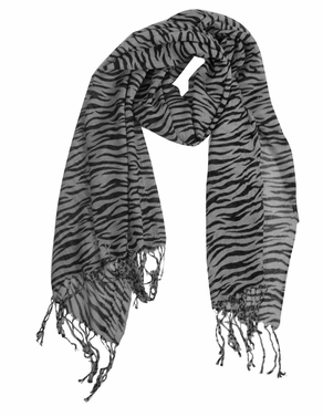 Grey Striped Zebra Print Scarf