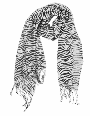White Striped Zebra Print Scarf