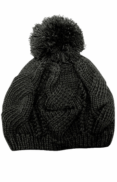 Ebony Thick Chunky Cable Knit Pom Pom Slouch Beanie Hat