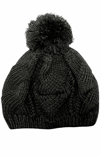 Stylish Thick Chunky Cable Knit Pom Pom Slouch Beanie Hat