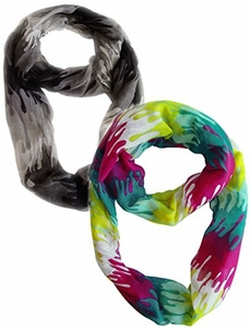 Trendy Abstract Multicolored Paint Design Scarf Two Pack (Black, Fuchsia/Yellow)