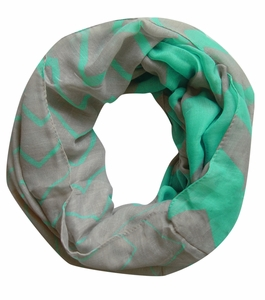 Mint/Grey Trendy Lightweight Two-toned Wide Chevron Design Infinity Loop Scarf