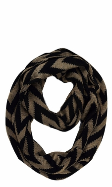 Stylish Winter Warm Soft Knit Chevron ZigZag Infinity Loop Scarf (Taupe)