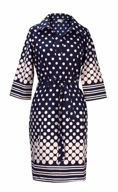 Navy Peach Polka Dot Summer Causal V Neck Shift � Tie Shift Dress