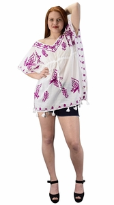 White Purple Summer Boho Cotton Floral Cover-up Kaftan Beachwear Tunic