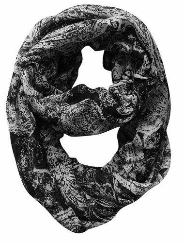 Sunflower Two Color Paisley Print Lightweight Infinity Loop Scarf (Black White)