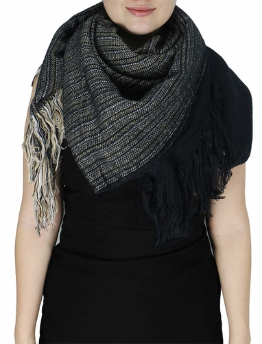 Super Large Warm Woven Blanket Scarf Shawl Poncho (Black)