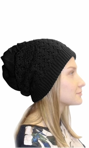 Black Thick Boho Knit Extra Slouchy Oversize Beanie Cap Hat