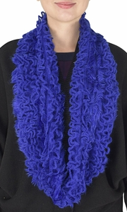 Royal Blue Ultra Thick Plush Stretchy Ruffled Infinity Loop Scarf