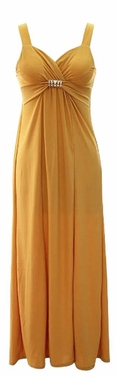 Gold Exotic Sleeveless Maxi Beach Evening Dress