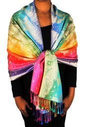 Tan Rainbow Tropical Feather Pashmina Wrap Shawl Scarf