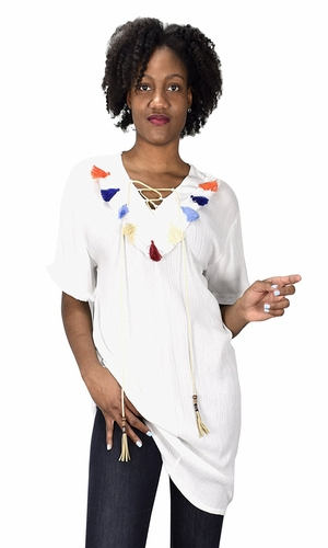 White Tasseled Lace Tie V Neck Short Sleeves Beach Cover up Crepe Tunic Tops