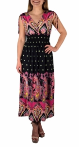 Black-Fuchsia Paisley Exotic Tahiti Multi-Color Border Print Maxi Dress