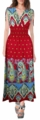 Red-Turquoise Paisley Exotic Tahiti Multi Color Border Print Maxi Dress