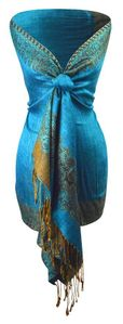 Teal Gold Ravishing Reversible Pashmina Shawl