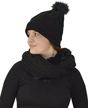 Thick Cable Knit Faux Fur Plush Double Layer Hat Infinity Scarf Set