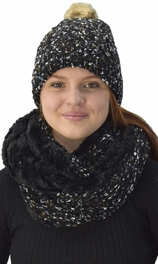 Black Cable Knit Faux Fur Plush Double Layer Hat Infinity Scarf Set