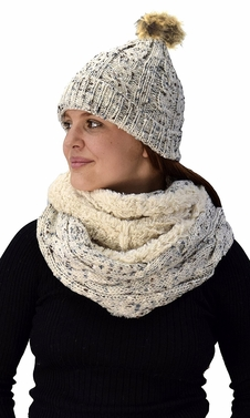 Cream Cable Knit Faux Fur Plush Double Layer Hat Infinity Scarf Set