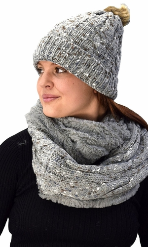 Grey Cable Knit Faux Fur Plush Double Layer Hat Infinity Scarf Set