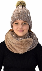 Taupe Thick Cable Knit Faux Fur Plush Double Layer Hat Infinity Scarf Set