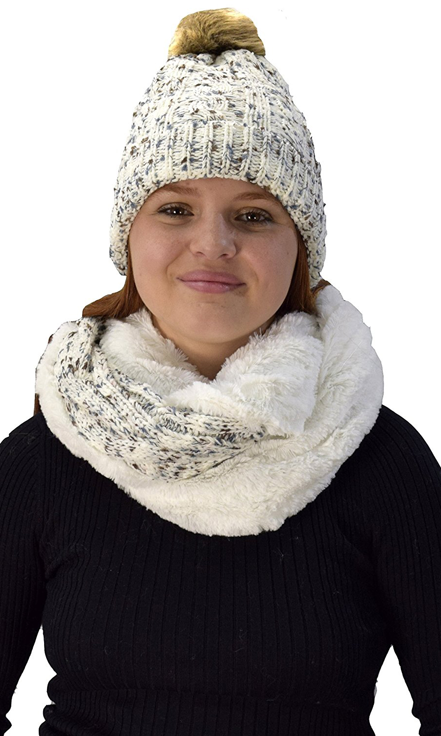 f0db280855d White Cable Knit Faux Fur Plush Double Layer Hat Infinity Scarf Set