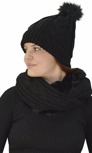 Thick Cable Knit Weave Beanie Hat Plush Infinity Loop Scarf 2 Pack Black 97