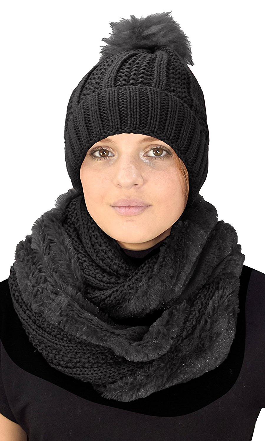 a5cb475dc38 Black 98 Cable Knit Weave Beanie Hat Plush Infinity Loop Scarf 2 Pack