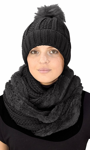 Black 98 Cable Knit Weave Beanie Hat Plush Infinity Loop Scarf 2 Pack
