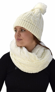 Cream 97 Cable Knit Weave Beanie Hat Plush Infinity Loop Scarf 2 Pack
