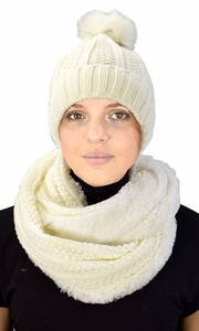 Cream 98 Cable Knit Weave Beanie Hat Plush Infinity Loop Scarf 2 Pack