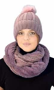 Dust Pink 98 Cable Knit Weave Beanie Hat Plush Infinity Loop Scarf 2 Pack