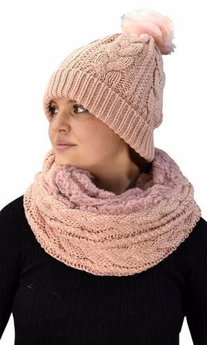 Pink 97 Cable Knit Weave Beanie Hat Plush Infinity Loop Scarf 2 Pack