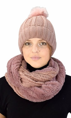 Pink 98 Cable Knit Weave Beanie Hat Plush Infinity Loop Scarf 2 Pack