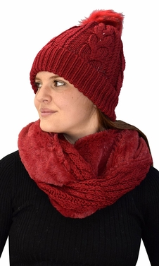 Red 97 Cable Knit Weave Beanie Hat Plush Infinity Loop Scarf 2 Pack